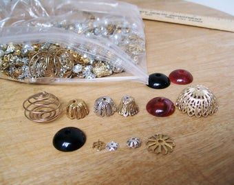 6 oz LOT of JEWELRY FINDINGS Bead Caps Silver tone Gold tone Cabochons Unused Flower Spiral Spacers Jewelry Supply 100's of pieces
