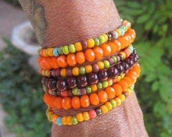Colorful Sunburst Bohemian Gypsy Stacker Bracelet Set of 7 - Hippie Stretch Stack Bracelet Set - Beaded Stretch Bracelet Set