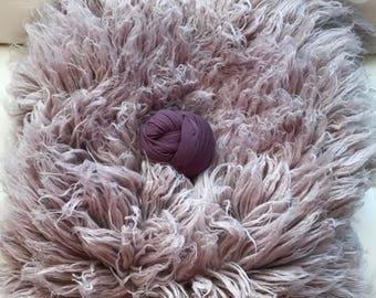 LILAC purple wrap & flokati stuffer set,  LUX wool Newborn Photography prop, Greek Flokati for newborn photography