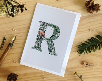 Forest Letter R Card - Initial Card