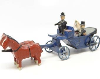 Antique German Horse and Wedding Carriage with Bride and Groom, Vintage Childs Pull Toy, Egbritzen