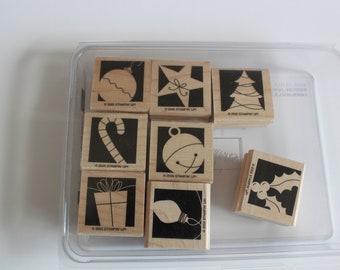 Stampin Up, Holiday Blocks set, rubber stamps, card making supply, Christmas stamps, wood mounted stamps, stamp set, destash,