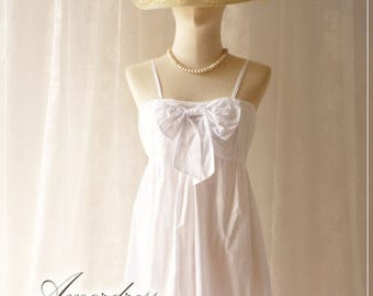 Mid Year SALE Pure White Boho Tunic or Dress Blouse Top Pure White Cotton Bow Halter Blouse Comfy Summer Time Memorandum Blouse