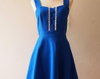 Royal Blue Bridesmaid Dress Long Dress Dress Fit and Flare Blue Evening Dress Handmade Pop Color Dress Swing Dancing Dress