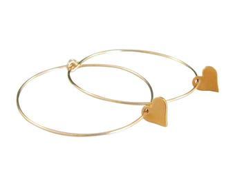 Gold Hoop 14kt Gold Fill Heart Earrings