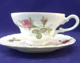 Delicate Footed Cup and Saucer, Moss Roses, Unknown Maker