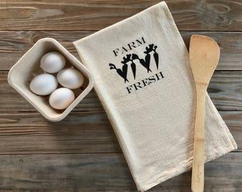 Tea Towel Farm Fresh Flour Sack Natural Feed Sack Kitchen Towel