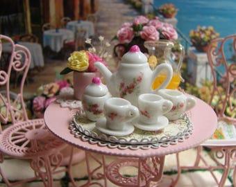 Dollhouse Miniature Shabby Chic Vintage Farmhouse Style White Porcelain Coffee/Tea Set for Two Detailed Roses Motif