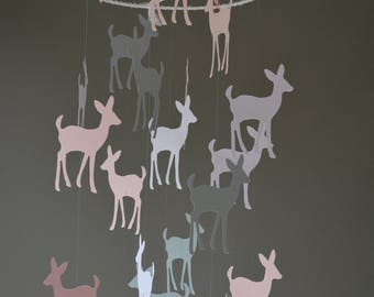 Bambi / Deer nursery mobile or baby mobile made from white, grey and soft pink shades card stock -- Handmade mobile, baby gift