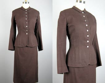 Vintage 1940s Wool Suit 40s Brown Tailored Wool Skirt Suit by Vassar Size M 28 Waist