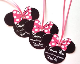 Hot Pink Polka Dot Minnie Mouse Thank You Tags, Set of 12 Personalized Thank You Party Favor Tags, Happy Birthday Party, Party Decorations