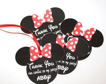 CUSTOM Set of 12 RED or PINK  Personalized Minnie Mouse Thank You Party Favor Tags, Birthday Party, Polka Dot Bow Minnie Mouse Ears