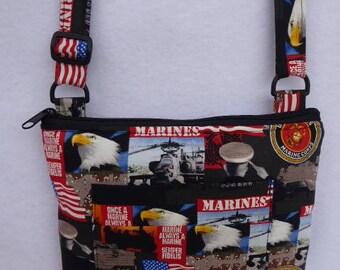 Adult Crossbody Bag: Marine Corp Fabric