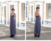 Vintage 70s Radley Ossie Clark Celia Birtwell Graphic Floral Print Moss Crepe Button Down Backless Maxi Dress XS