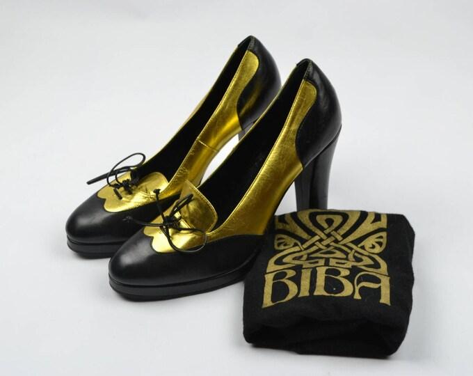 Stunning  2008 BIBA Art Deco metallic Gold and Black High Heel Lace Up shoes UK6