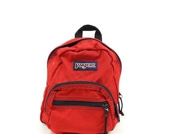 ON SALE Jansport 90s Red Mini Backpack, 90s Athletic Gym Bag, Vintage Jansport Backpack