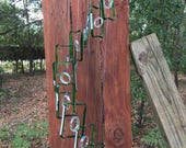 dark green JAGGER glass WINDCHIME from recycled bottles, eco friendly, garden decor, wind chimes, mobiles, musical, windchimes