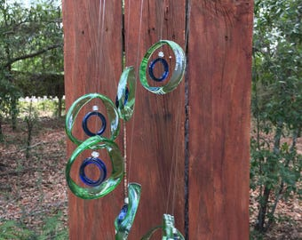 green, blue, GLASS WINDCHIMES - RECYCLED bottles,    garden decor, wind chimes, mobiles,  windchimes, soothing music