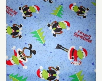 ON SALE Frogs, Hoppy Christmas, Frog Fabric, Christmas Fabric, Snowman Fabric, 03038