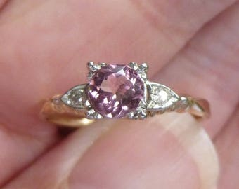 Beautiful Traditional 1940s  Pink Tourmaline~~with side Diamond  engagment ring in 14KT white and yellow gold