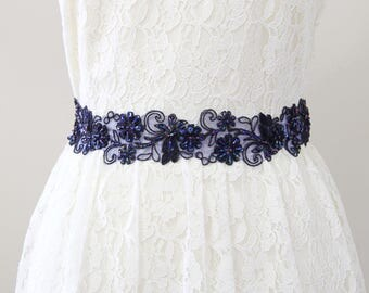 Navy Beaded Lace with Navy Satin Ribbon Sash, Bridal Sash, Bridesmaid Sash, Flower Girl Sash Navy Blue  Sash