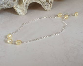 Pearl Anklet Bracelet with Sterling Silver & Lemon Yellow Freshwater Cultured Pearls