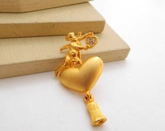 Retro Vintage Matt Gold Tone Rhinestone Heart Angel Tassel Brooch Pin I23