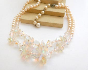 Vintage Pink Crystal Pastel Bead Cluster Faux Pearl Layered Choker Necklace N22