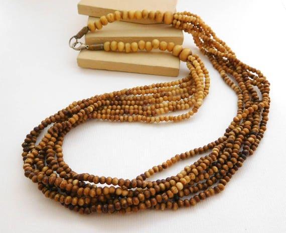 Vintage Brown Tribal Boho Carved Horn & Wood Bead Layered Torsade Necklace ZZ17