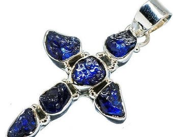 "Sapphire Blue Cross Pendant Signed 925 Sterling Silver 1 1/2"" NOS"