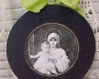Beautiful Antique Print of the Madonna with Baby Jesus in Original Round Wooden Frame