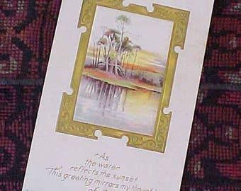 Very Pretty Edwardian Era Postcard with Romantic Message