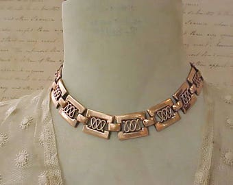 "Pretty 1950's Copper Designer Necklace Signed ""Renoir"""