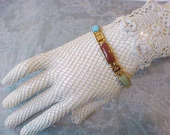 """Pretty Vintage Asian Designed Bracelet with Links Set With Colored """"Faux"""" Stone"""