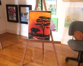 Elephant Sunset Miniature Original Art Painting by artist hazel rayfield shown here on display in my own  1:12th scale art gallery