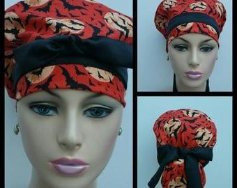 Handmade Woman Medical Scrub Hat - Bats/Moonlight Madness - Pumpkin Orange - Black/Orange - 100 % cotton