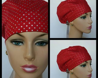 Bouffant Cap-Modified/Medical Cap/Surgical Scrub Cap - Hollyday Flourish - Two Tones - Brilliant Red - 100 % Cotton