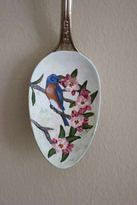 Eastern Bluebird in Apple Blossoms, songbirds, Unique, Collectible Painted Spoon,bird art, Small Gift, garden art, ornament, blue, pink