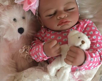 Completed Bi Racial Vera Completed Reborn Baby Doll from the Aisha 20 inch kit
