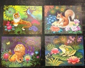SET OF 4 (B):  Vintage dead stock 1970s Animal (Tiger, Lion, Squirrel, Frog) lithograph prints by K Chin