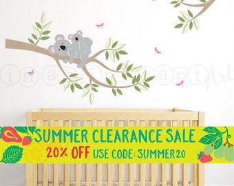 Koala Bear Decal, Branch with Mother and Baby Koala Bear Wall Decal for Nursery, Kids or Childrens Room 101