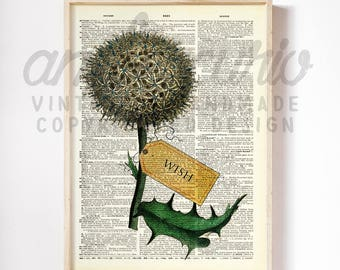 Remember to Make A Wish Boho Dandelion Collage Botanical Original Print on an Antique Upcycled Bookpage
