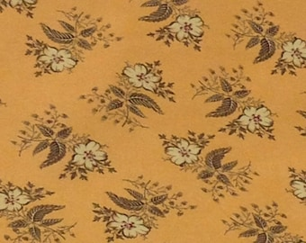 floral flower garden flannel fabric, pale orange with white flowers black outlined , beautiful fabric, quilting flannel,by the yard