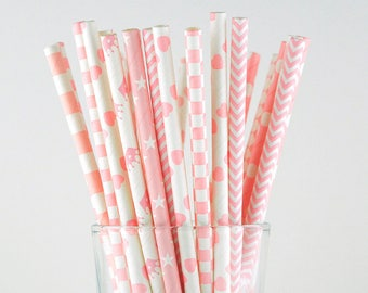 Pink Paper Straw Mix/Striped/Dot/Star/Chevron/Heart/Crown/Checker/Circle/Wedding/Party Decor/Cake Pop Sticks/Mason Jar Straws/Party Supplies