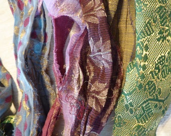Hope Jacare -  recycled sari silk ribbon borders -  mix of different patterns - SRB32