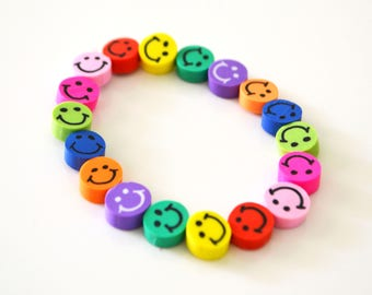 Smiley Face Bead Bracelet, Elastic, Multi Coloured