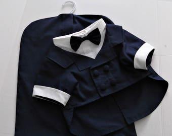 Haute Couture Two Piece Dog Tuxedo Jacket with Matching Garment Bag, Navy Blue Dog Tux, Dog White Tux Vest