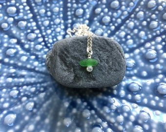 green sea glass cubic zirconia necklace, May birthstone, elegant and unique sea glass necklace, beach wedding, bridesmaids, wedding, Irish