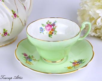 Foley Pale Green Floral Teacup And Saucer, English Bone China Tea Cup, Replacement China, ca. 1948-1963