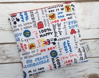 Reusable Snack Bag ~ Sandwich Size ~ Reusable Lunch Bag ~ Eco Friendly ~ Water Resistant ~ Zipper Pouch in Mickey Words